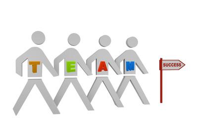 Personengruppe mit dem Wort Team gehen in Richtung eines Schildes mit dem Text Erfolg.