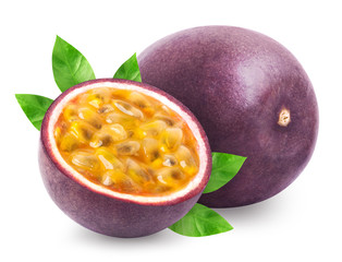 Passion fruit with leaves isolated