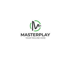 Letter M Play Symbol Logo Template. Play Button Vector Design. Play Letter M Illustration