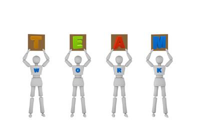Personen halten Schilder hoch die das Wort Team ergeben. Auf ihrer Brust steht work.