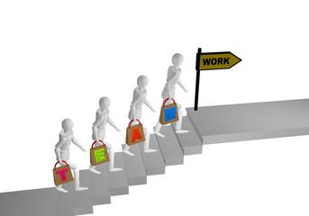 Personengruppe die eine Treppe hochgeht und in den Händen Taschen mit dem Wort Team halten. Am Ende der Treppe steht ein Schild mit work.