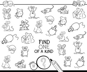 one of a kind game with mice color book