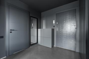 Monochromatic gray hallway
