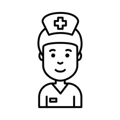 Smiling nurse face icon black outline isolated