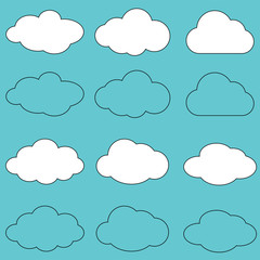 Clouds line art icon.Sky flat illustration collection for web.