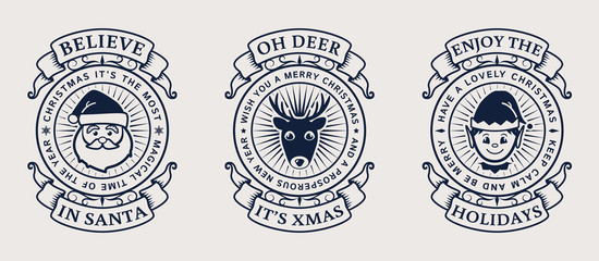 Christmas emblems with Santa, Elf and deer.