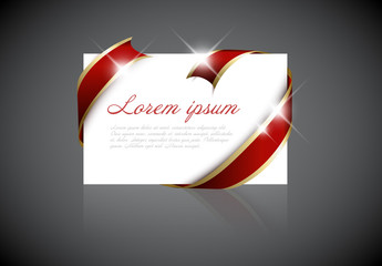 Christmas Card Layout with Red and Gold Ribbon