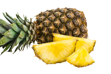 pineapple fruit with slices isolated on white background