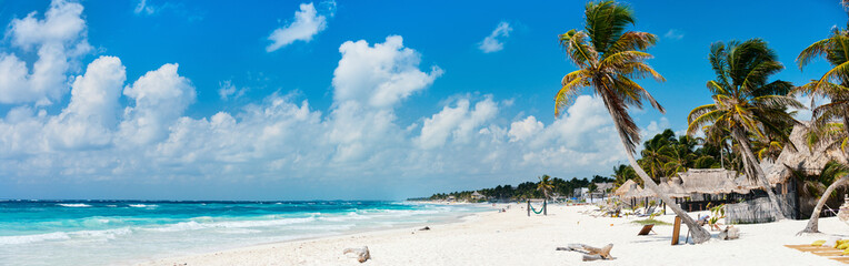 Beautiful Caribbean coast in Tulum Mexico Wall mural