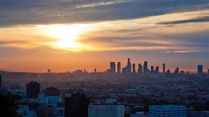 Fotobehang - Sunrise. Los Angeles skyline. Timelapse.