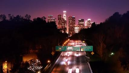 Fotobehang - Los Angeles night freeway traffic. Timelapse.