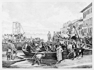 Crowd of ancient men on a boat preparing to crossing Ticino river near to a small town. By E. Matania after painting of Pagliano published on Garibaldi e i Suoi Tempi Milan Italy 1884