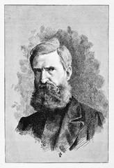 Ancient close up portrait of a man with a long beard. Nicola Fabrizi (1804 - 1885) old engraved portrait Italian patriot. By E. Matania published on Garibaldi e i Suoi Tempi Milan Italy 1884 Fabrizi
