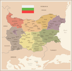 Bulgaria - vintage map and flag - Detailed Vector Illustration