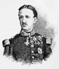 Ancient bust portrait of Francis II of the Two Sicilies (1836 - 1894) in his king uniform. By E. Matania published on Garibaldi e i Suoi Tempi Milan Italy 1884