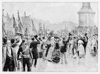 Crowd of ancient people displayed in back view greets Garibaldi solemn entrance in London. By E. Matania published on Garibaldi e i Suoi Tempi Milan Italy 1884