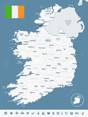 Ireland - map and flag Detailed Vector Illustration