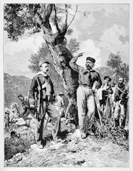 Garibaldi talks to Nino Bixio in Calatafimi Sicily under a tree. Other soldiers are resting at their backs. By E. Matania published on Garibaldi e i Suoi Tempi Milan Italy 1884