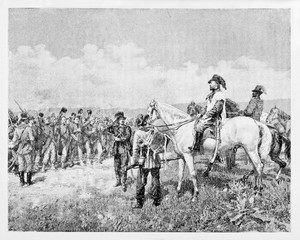 Garibaldi on his horse looks to Bourbon prisoners in a countryside near Velletri Italy in 1849. By E. Matania published on Garibaldi e i Suoi Tempi Milan Italy 1884.