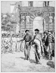 Garibaldi in his uniform in front of a parade in his onor. Visiting college to himself headed in Palermo and browsing young members. By E. Matania, on Garibaldi e i Suoi Tempi Milan Italy 1884
