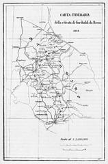 Old itinerary map of Garibaldi retreat from Rome. By E. Matania published on Garibaldi e i Suoi Tempi Milan Italy 1884