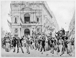 Croud of ancient people greets Garibaldi entering on a large square in Naples. Buildings on background. By E. Matania published on Garibaldi e i Suoi Tempi Milan  Italy 1884