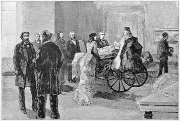 Ancient people in a indoor context. Garibaldi in his room on a wheelchair talking with other peoples. By E. Matania published on Garibaldi e i Suoi Tempi Milan Italy 1884 Garibaldi in Naples quater