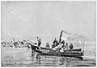 Wall Mural - Old Garibaldi arrival in Naples on january 21 1882. He travel on a little boat sitting on his wellchair. By E. Matania published on Garibaldi e i Suoi Tempi Milan Italy 1884