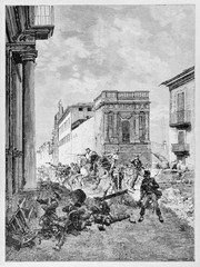 Urban warfare in the streets of an ancient city. Garibaldi fighting in Palermo between smoke and ruins. By E. Matania published on Garibaldi e i Suoi Tempi Milan Italy 1884