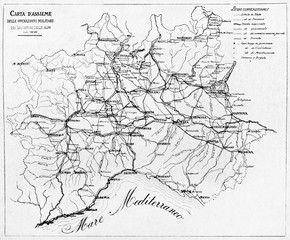Old black and white map of Hunters of the Alps military actions in 1859. By E. Matania published on Garibaldi e i Suoi Tempi Milan Italy 1884