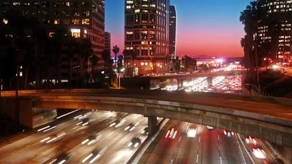 Fototapete - Los Angeles traffic, timelapse.