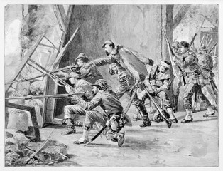Ancient soldiers shooting from a window in a ruined room. Giacomo Medici and his soldiers fighting in Villa del Vascello Rome. By E. Matania published on Garibaldi e i Suoi Tempi Milan Italy 1884