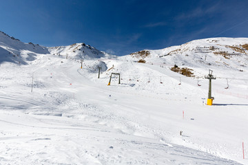 Beautiful ski resort Ciampac near Canazei, Val di Fassa valley, Italy, has slopes for beginners, children and also for skilled skiers.