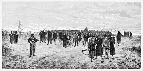 Large amount of war prisoners surrounded by opposite soldiers standing on a grassland. Mentana battle prisoners. By E. Matania published on Garibaldi e i Suoi Tempi Milan Italy 1884
