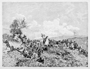 fray during a battle between two opposite armies on a hill. General Garibaldi stands on his horse fighting with the sword. Milazzo battle. By E. Matania on Garibaldi e i Suoi Tempi Milan, 1884