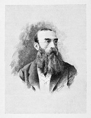 Ancient portrait of a man looking intellectual with his long beard and small glasses. Antonio Mosto (1834 - 1880) Italian patriot. By E. Matania on Garibaldi e i Suoi Tempi Milan Italy 1884