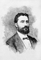 Portrait of an ancient elegant young man with a black beard and a bow tie. Giovanni Nicotera (1828 - 1894) Italian patriot and statesman. By E. Matania on Garibaldi e i Suoi Tempi Milan Italy 1884