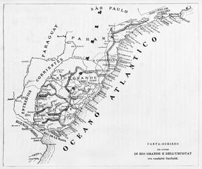 Old map of Rio Grande do Sul and Uruguay. By unidentified author published on Garibaldi e i Suoi Tempi Milan Italy1884