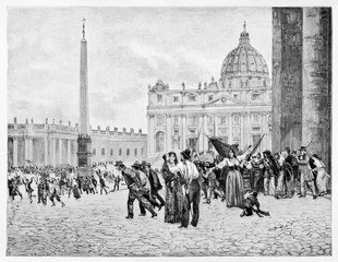 Ancient view of San Peter's square with people and monuments on background. Rome, April 30 1849: preparing the resistance against the French troops. By E. Matania on Garibaldi e i Suoi Tempi 1884