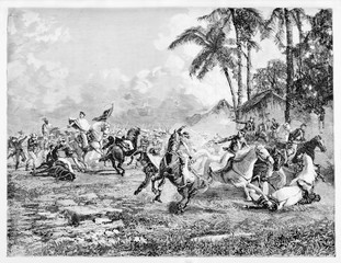 Ancient violent battle between two opposite horseback troops on a grassland with jungle vegetation in background. San Antonio battle. By E. Matania on Garibaldi e i Suoi Tempi Milan Italy 1884