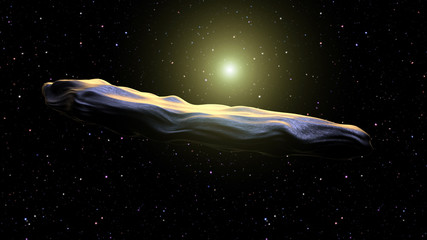 interstellar asteroid confirmed Oumuamua on the galaxy background