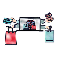 online purchases of gifts with credit card on laptop in colored crayon silhouette