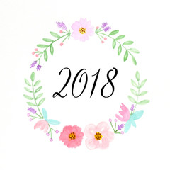 Happy new year 2018 on watercolor hand painting flowers wreath over white background, new year greeting card, banner