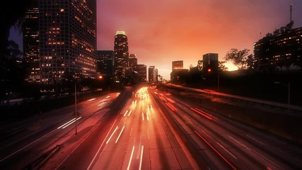 Fotobehang - Los Angeles traffic, timelapse.