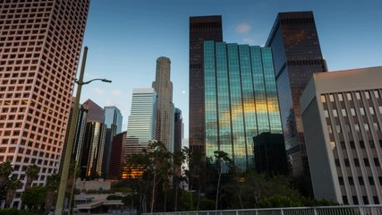 Fototapete - City of Los Angeles downtown traffic. Motion timelapse hyperlapse