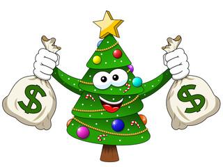 xmas christmas tree mascot character holding money dollar sack richness isolated
