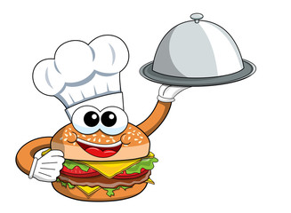 Cartoon hamburger character cook serving silver tray isolated