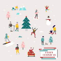 Small People Vector Illustration, Vector Flat Holiday Illustraation, Pastel Christmas Elements, Holiday Celebration Background, Greeting Card, Simple Flat Design Background