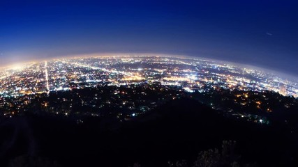 Fototapete - Round Los Angeles city skyline rotating night