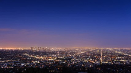 Fotobehang - City of Los Angeles skyline, dusk to night. Timelapse.